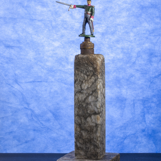 """""""Tin figure Officer of the St. St. Petersburg Dragoons 1812 on a pedestal"""" stock image"""