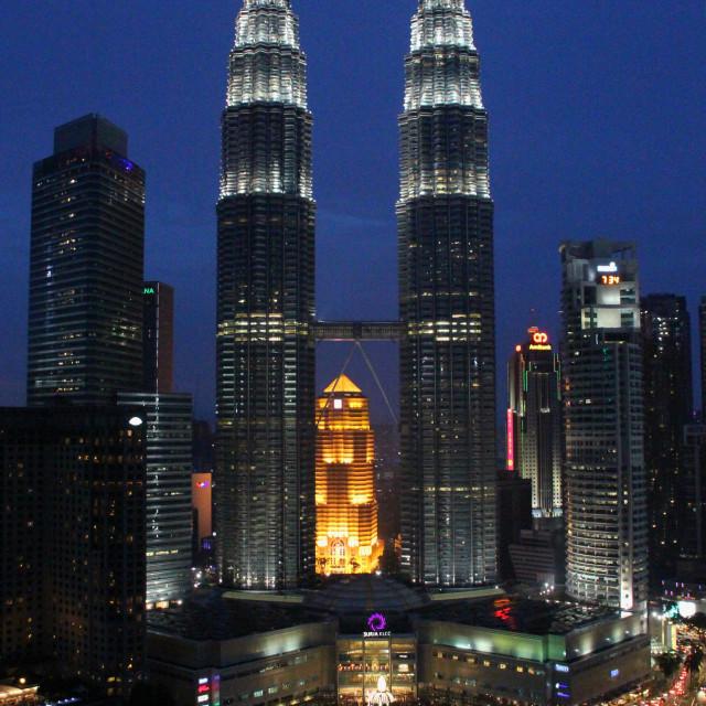 """""""The Petronas Towers, Kuala Lumpur"""" stock image"""