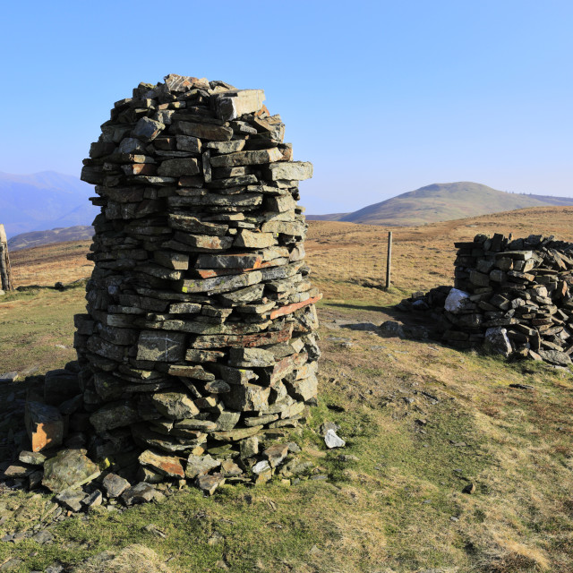 """The summit cairn of Broom Fell, Keswick town, Lake District National Park,..."" stock image"