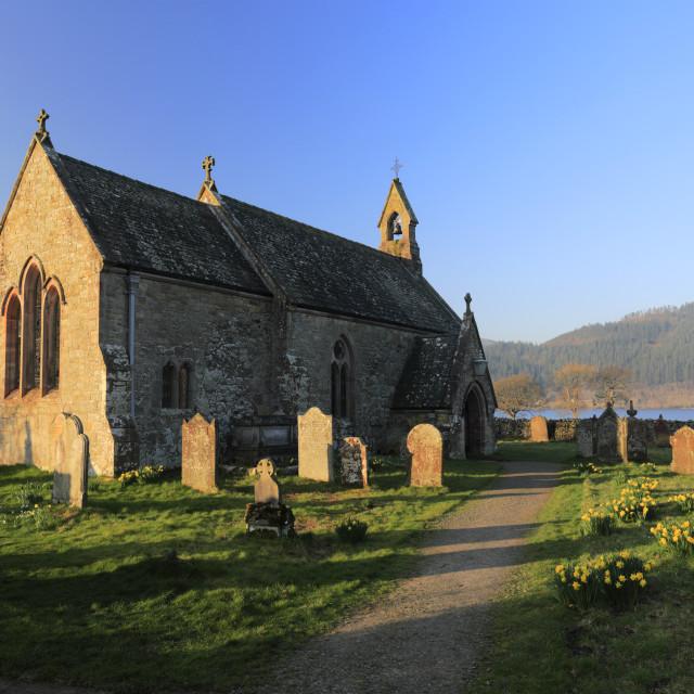 """Dawn, St Begas Church on the shore of Bassenthwaite lake, Lake District..."" stock image"