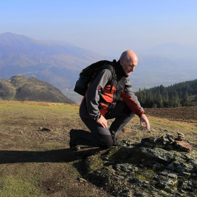 """Walker at the summit of Lords Seat fell, Bassenthwaite lake, Keswick town,..."" stock image"