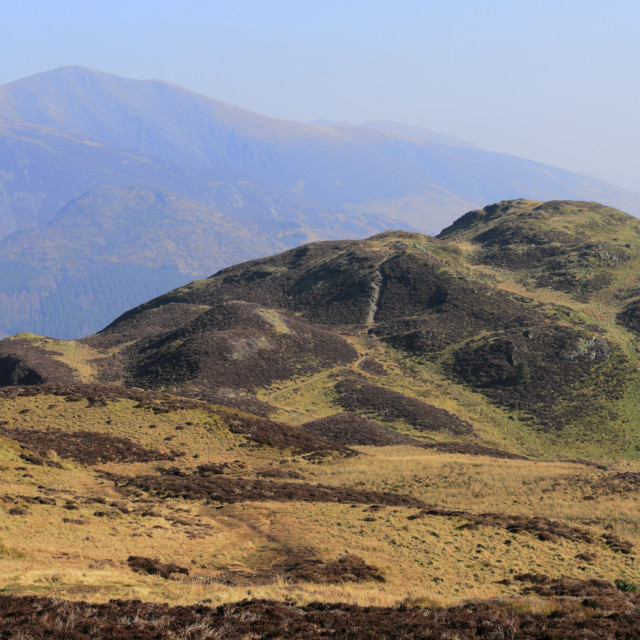 """The summit of Barf fell, Bassenthwaite lake, Keswick town, Lake District..."" stock image"