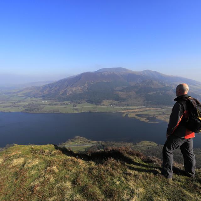 """Walkers on the summit of Barf fell, Bassenthwaite lake, Keswick town, Lake..."" stock image"