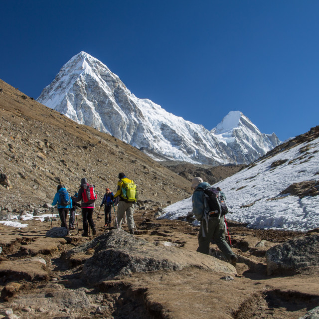 """""""Trekkers heading towards Gorakshep, Kala Patthar and Everest Bas"""" stock image"""