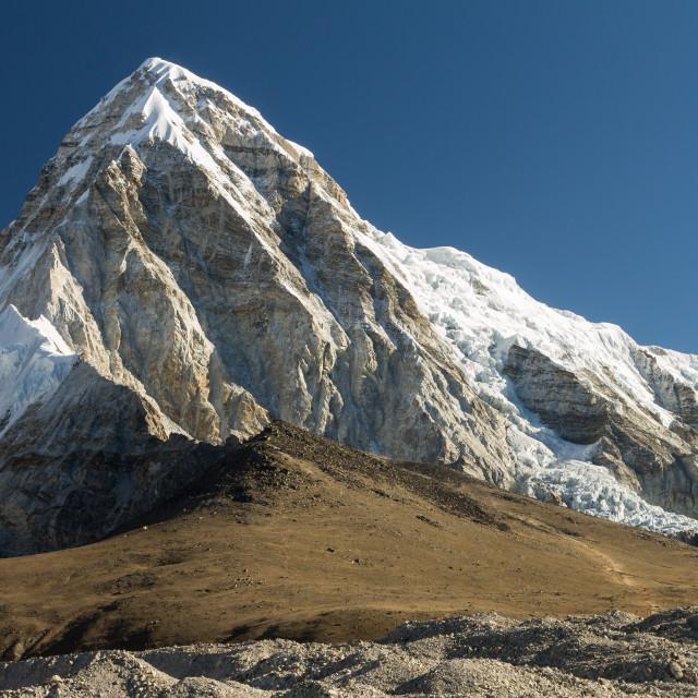 """Pumori (7161m) and the Kala Pattar Peak"" stock image"