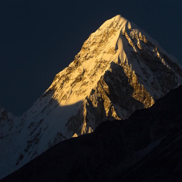 """""""Pumori (7161m) at sunset"""" stock image"""