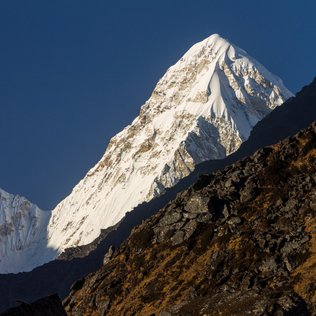 """Pumori (7161m) seen from a place near to the Ama Dablam Base Camp"" stock image"