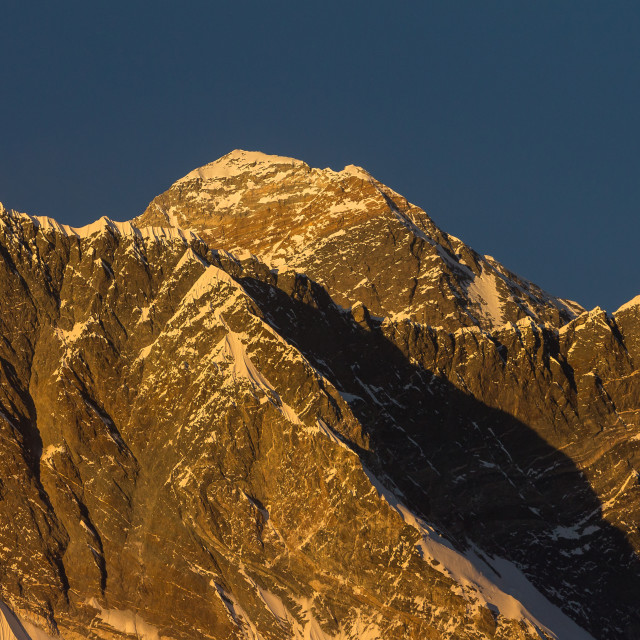 """""""Top of Everest at sunset seen from the way from Ama Dablam Base Camp"""" stock image"""