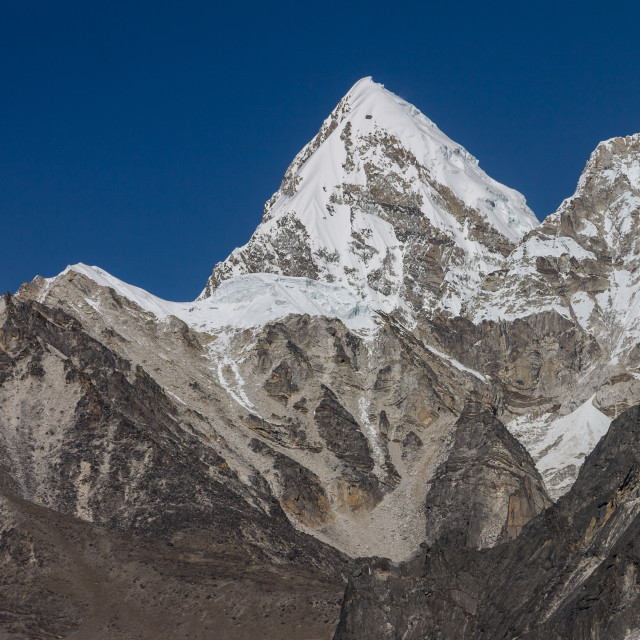"""Pumori (7161m) seen from Chukhung Ri"" stock image"