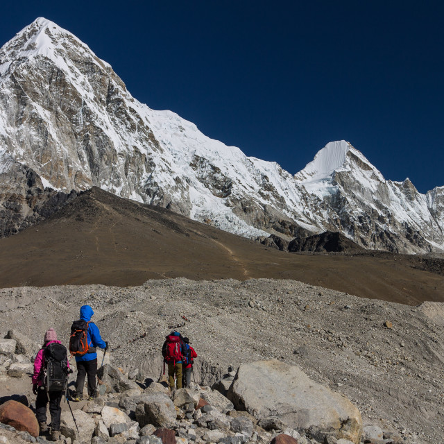 """""""Trekkers approaching Everst Base Camp"""" stock image"""