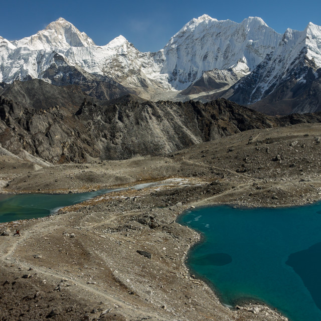 """""""Upper part of the Imja Khola valley seen from Kongma La"""" stock image"""