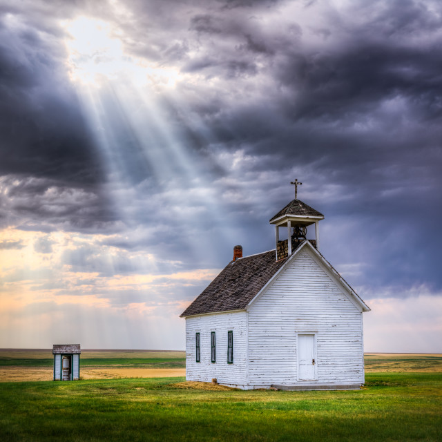 """Sun Rays Shining on Abandoned Church"" stock image"