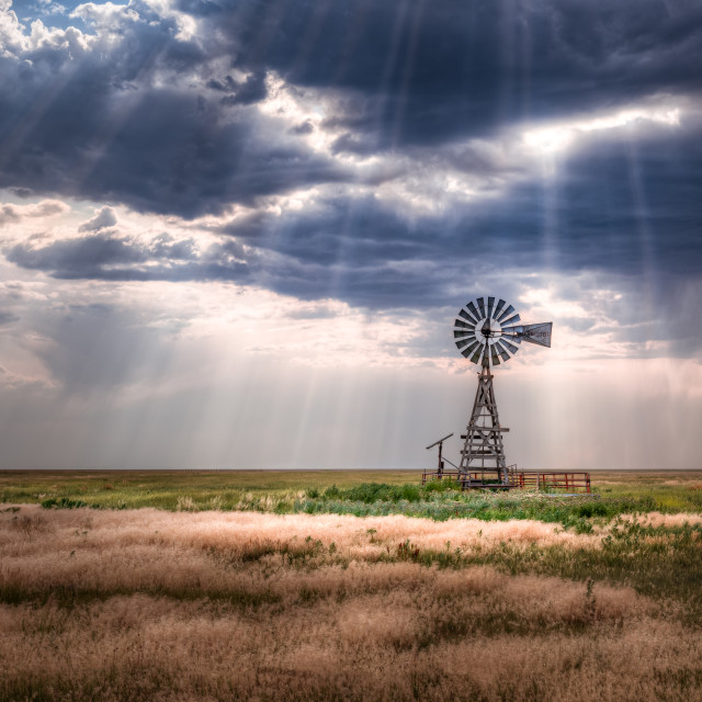 """Windmill on a Rural Farm"" stock image"
