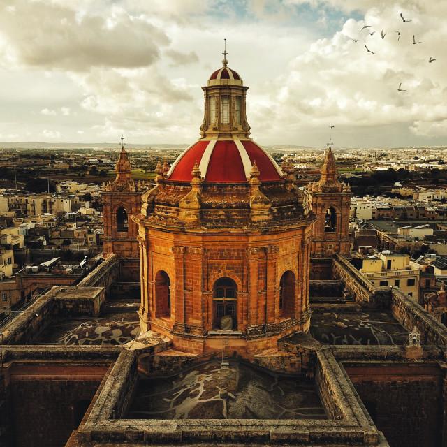 """Aerial: Roman Catholic Church in Malta"" stock image"