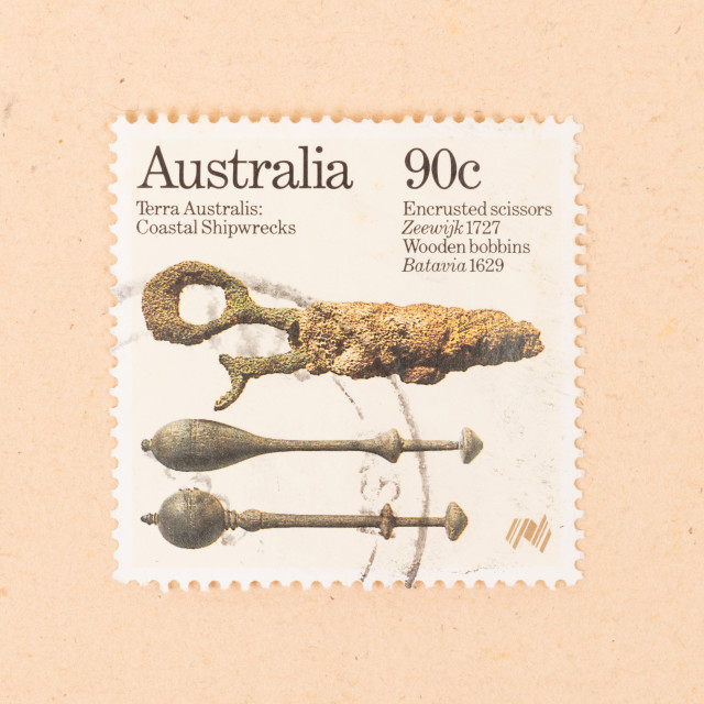 """""""AUSTRALIA - CIRCA 1980: A stamp printed in Australia shows things that are..."""" stock image"""