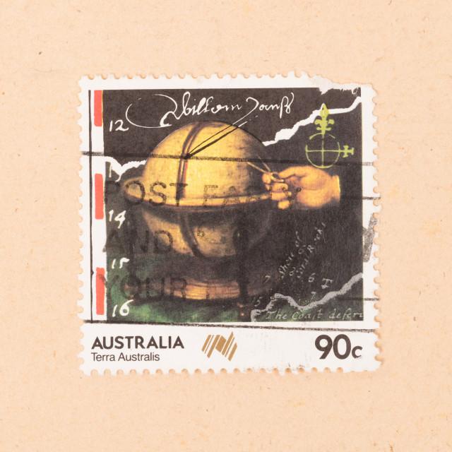 """AUSTRALIA - CIRCA 1990: A stamp printed in Australia shows Terra Australis,..."" stock image"