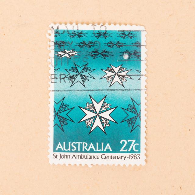 """AUSTRALIA - CIRCA 1983: A stamp printed in Australia shows St John Ambulance..."" stock image"