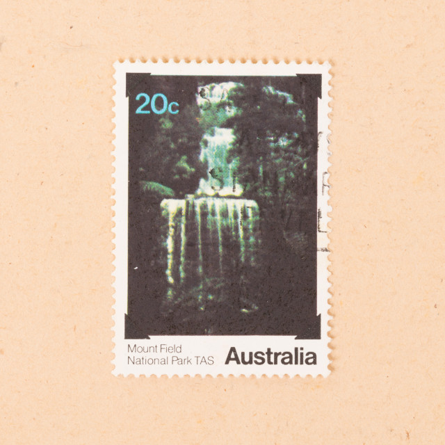 """""""AUSTRALIA - CIRCA 1980: A stamp printed in Australia shows an image of Mount..."""" stock image"""