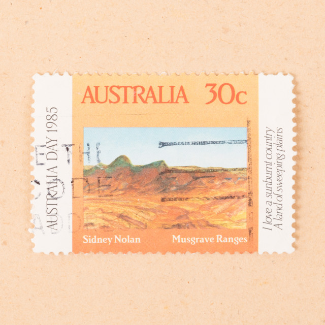 """AUSTRALIA - CIRCA 1980: A stamp printed in Australia shows Sidney Nolan..."" stock image"