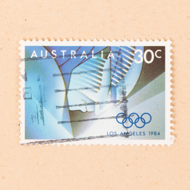 """""""AUSTRALIA - CIRCA 1984: A stamp printed in Australia shows the Los Angeles..."""" stock image"""