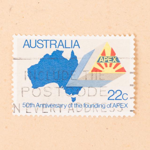 """AUSTRALIA - CIRCA 1980: A stamp printed in Australia shows the 50th..."" stock image"