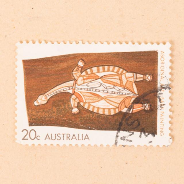 """AUSTRALIA - CIRCA 1980: A stamp printed in Australia shows an old aboriginal..."" stock image"