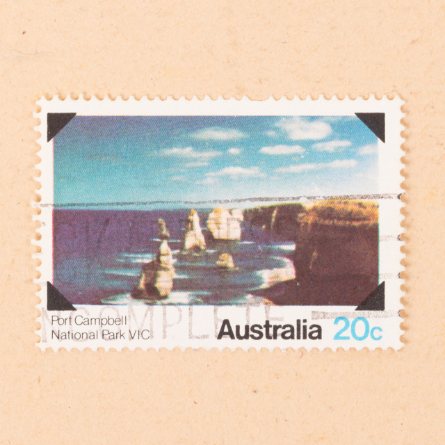 """""""AUSTRALIA - CIRCA 1980: A stamp printed in Australia shows Port Campbell..."""" stock image"""
