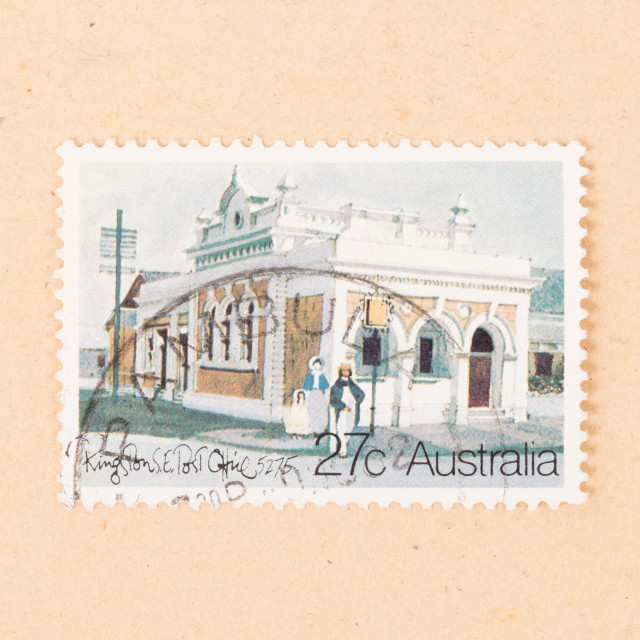 """AUSTRALIA - CIRCA 1980: A stamp printed in Australia shows Kingston Post..."" stock image"