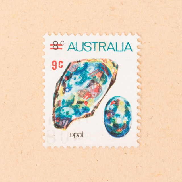 """AUSTRALIA - CIRCA 1970: A stamp printed in Australia shows opal, circa 1970"" stock image"