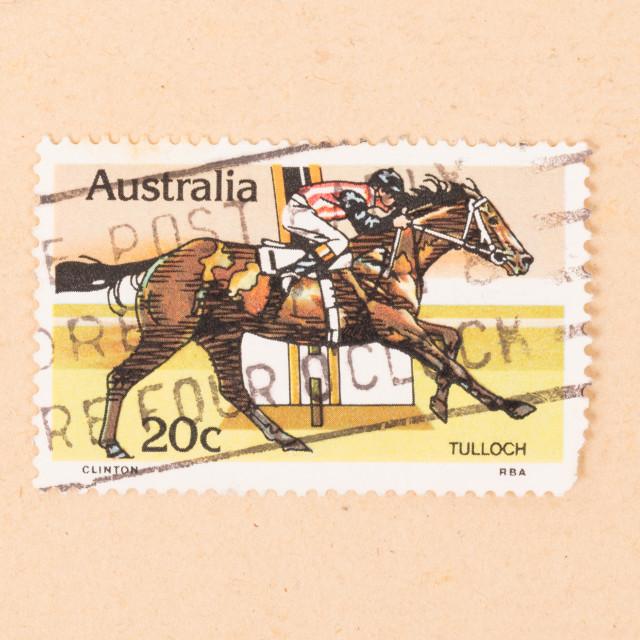 """AUSTRALIA - CIRCA 1980: A stamp printed in Australia shows a jockey riding..."" stock image"