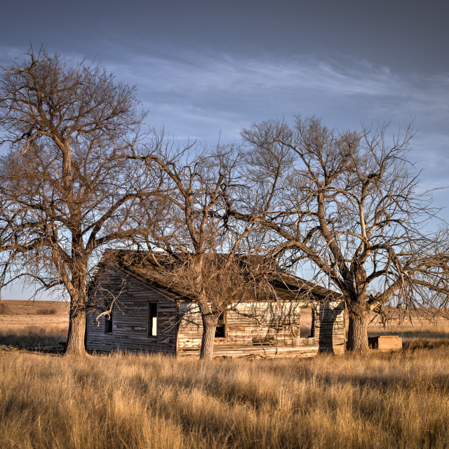 """Old Farmhouse on the Eastern Plaines of Colorado"" stock image"