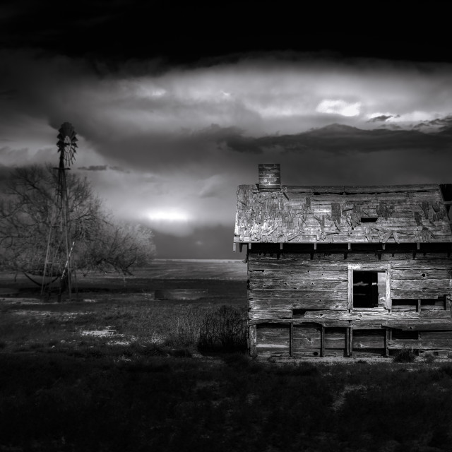 """Black and White of an Old Farmhouse"" stock image"
