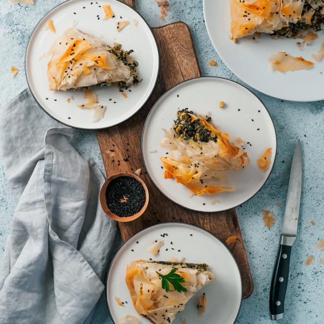 """""""Vegan Spanakopita Spinach Pie"""" stock image"""