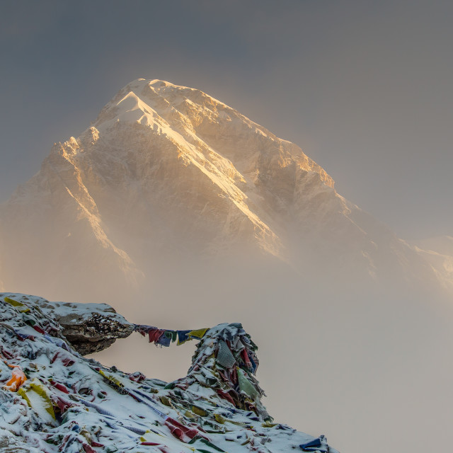 """First Light on Pumori"" stock image"