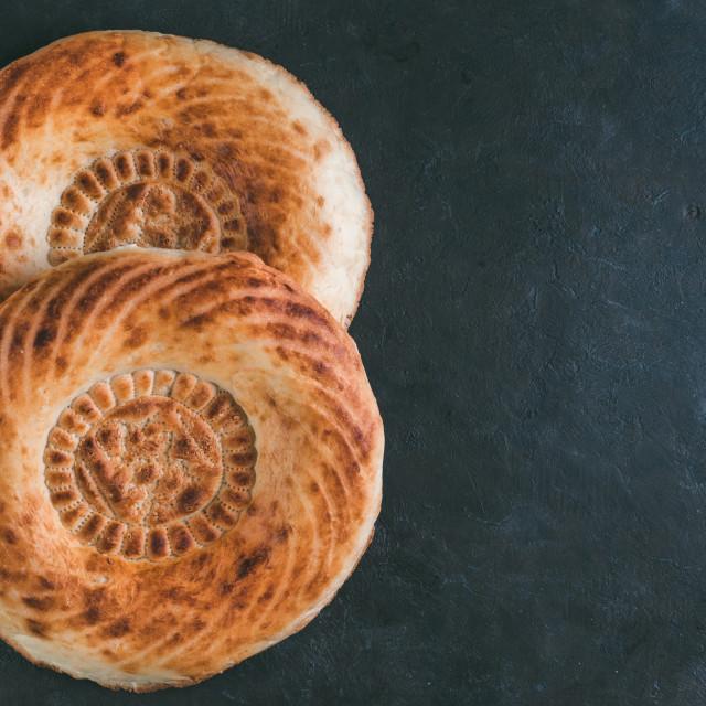 """tandoor bread on black table"" stock image"