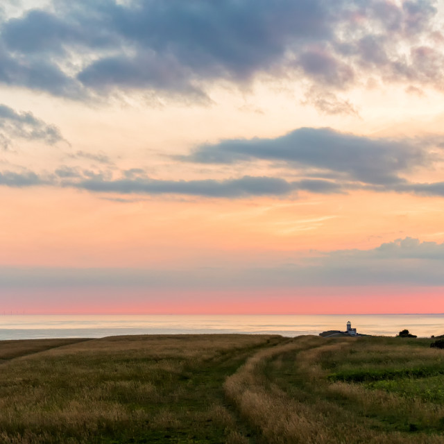 """""""Belle Tout and grassland from Beachy Head 2"""" stock image"""