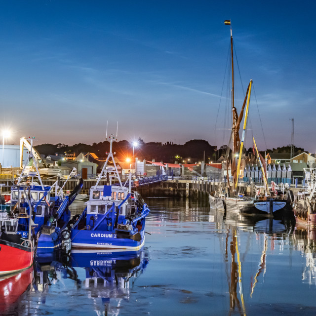 """""""First light at Whitstable harbour"""" stock image"""