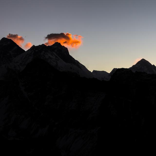 """Mount Everest, Lhotse and Makalu seen from Gokyo Ri just before sunrise"" stock image"