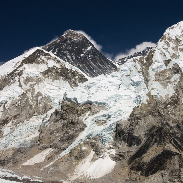 """""""Mt. Everest and Nuptse as seen from the Kala Patthar peak"""" stock image"""