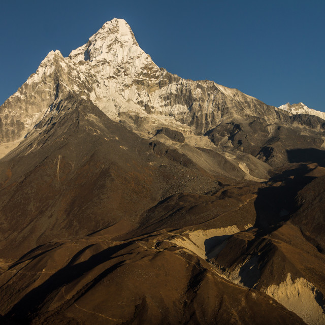 """""""Ama Dablam seen at sunset from a ridge high above Panboche"""" stock image"""