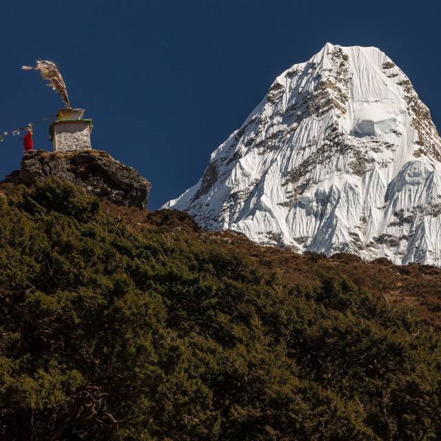 """""""Ama Dablam seen from Panboche"""" stock image"""
