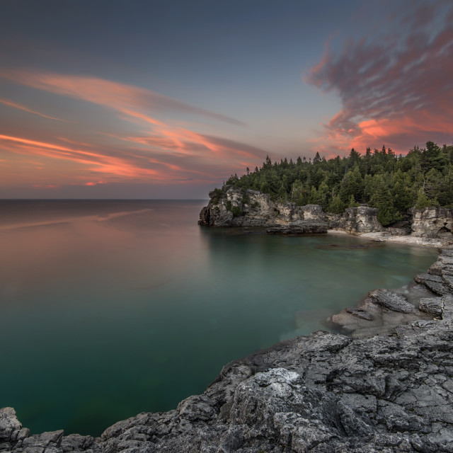 """""""Indian Head Cove at Sunset"""" stock image"""