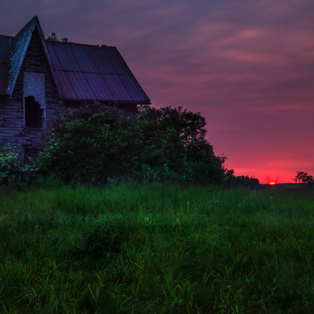 """Sunset at Abandoned Lavender House"" stock image"