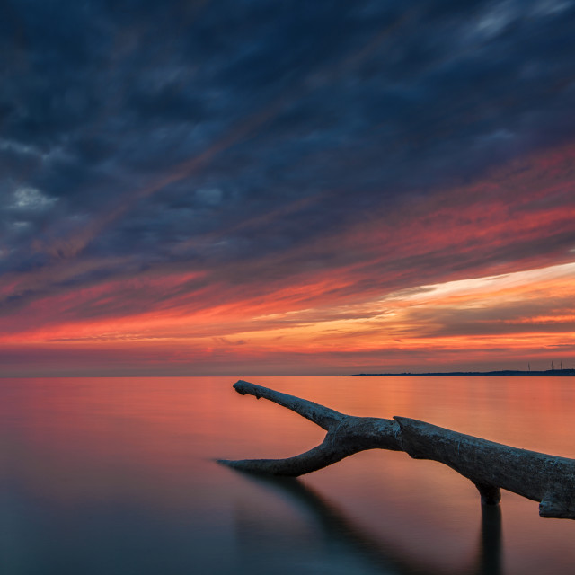 """Sunset at Port Burwell Ontario"" stock image"