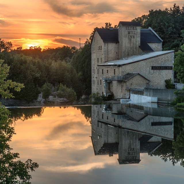 """Sunset in Elora, Ontario"" stock image"