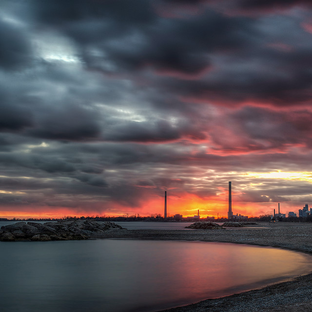 """The Beaches overlooking Toronto Skyline"" stock image"