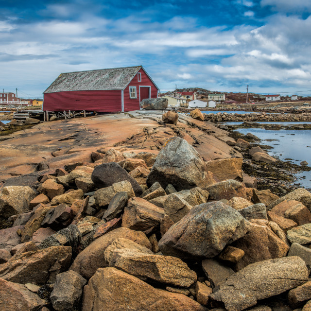 """Tilting Harbour, Fogo Island"" stock image"