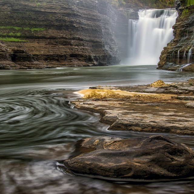 """Upper Falls at Letchworth State Park"" stock image"