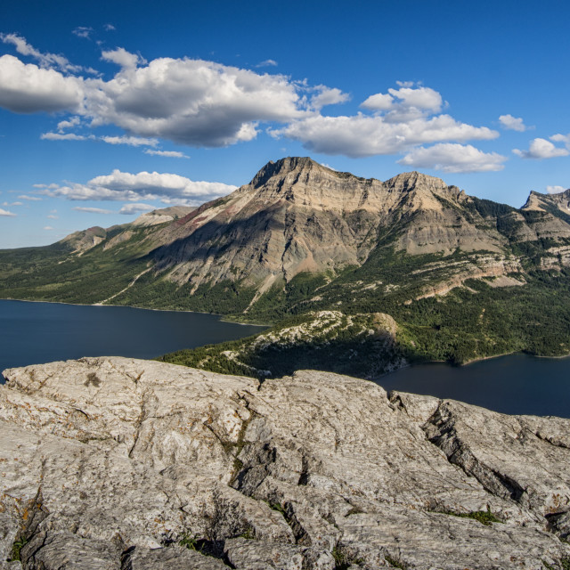"""Waterton Lakes viewed from Bear Hump Mountain"" stock image"