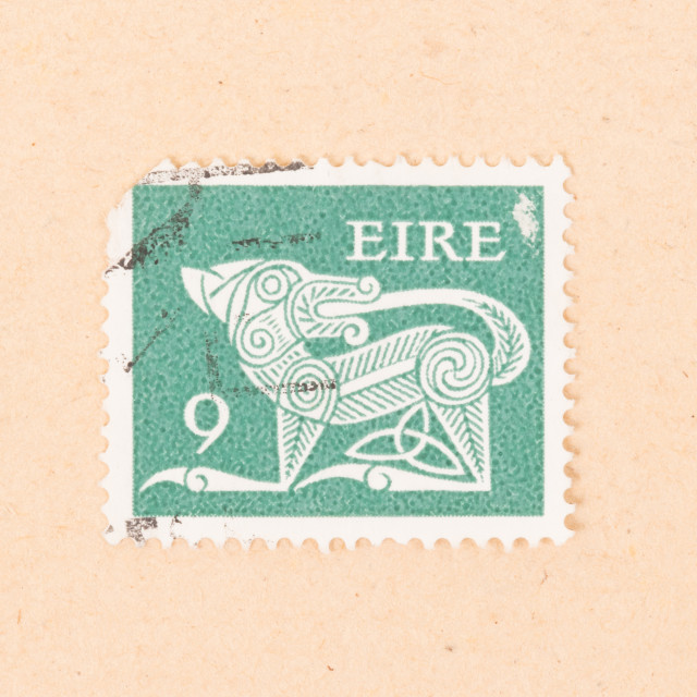 """IRELAND - CIRCA 1980: A stamp printed in Ireland shows an animal, circa 1980"" stock image"